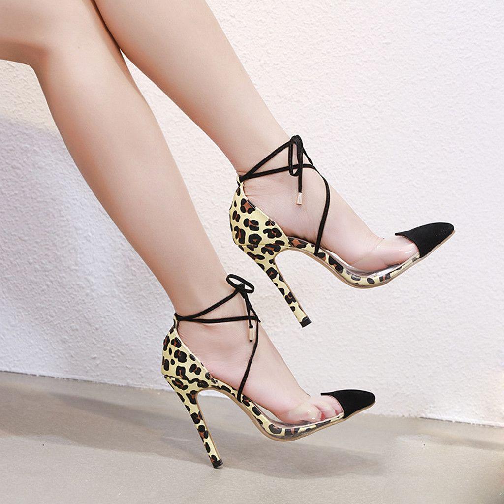 b14dc51db42c Dress Muqgew Fashion Leopard High Heel Single Shoes For Women Lace Up Pointed  Toe Ladies Transparent Stiletto Sandals Salto Alto Femin Clogs For Women  Cheap ...