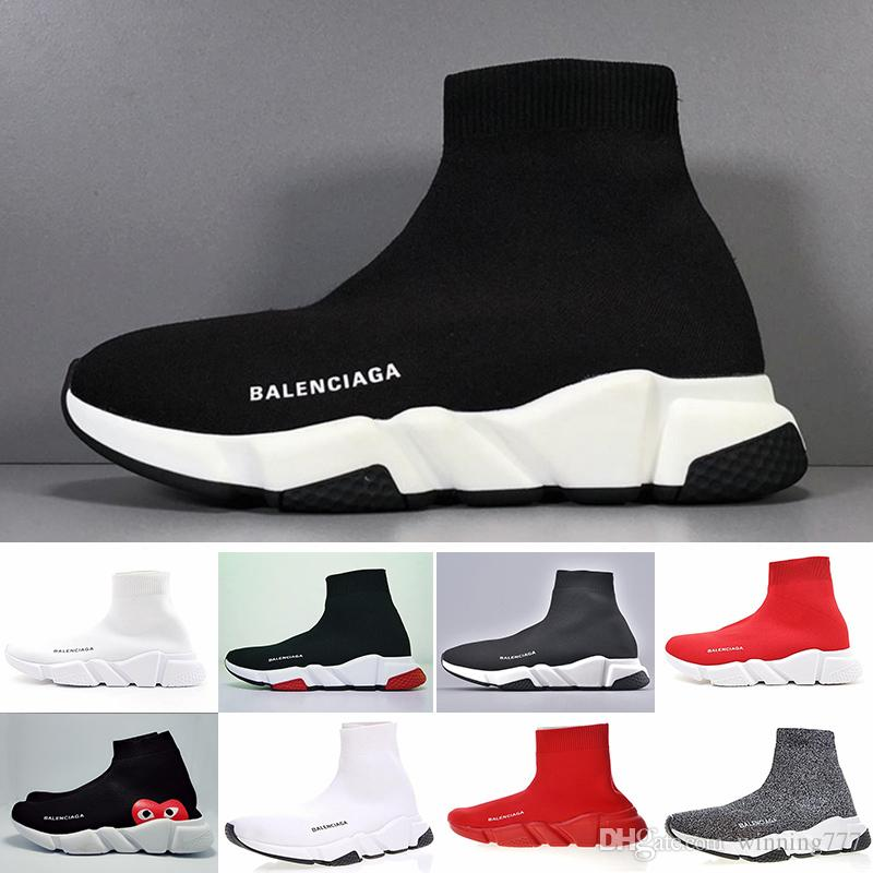 Designers Sneakers Speed Trainer Black Red Gypsophila Triple Black Fashion Flat Sock Boots Casual Shoes Speed Trainer Runner With Dust GG5CE