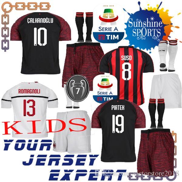 2019 AC Milan THIRD Kids Kit Black Away White 18 19 Soccer Jerseys 19  PIATEK SUSO CALHANOGLU ROMAGNOLI Boy Set 2018 2019 Child Shiirts 7 Cups  From ... 88e31c811