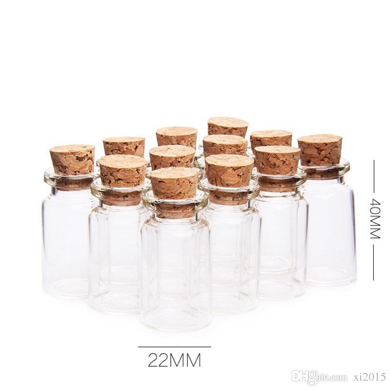 7ML Clear Small Cute Mini Cork Stopper Glass Jars Containers Mini Wishing Bottle Glass Craft WB159