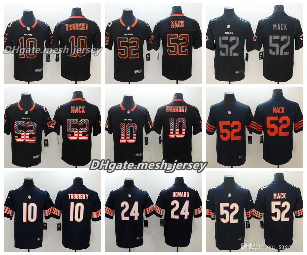 huge discount d1cca 99a08 Men Chicago Bears Jersey 10 Mitchell Trubisky 52 Khalil Mack 24 Howard 58  Roquan Smith Color Rush Football Jerseys