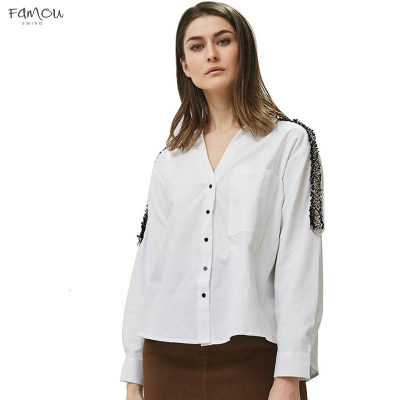 Women Collar Striped Blouses Office Lady Long Sleeve Turn Down Side Shirts White Female Tops Blusas Be335