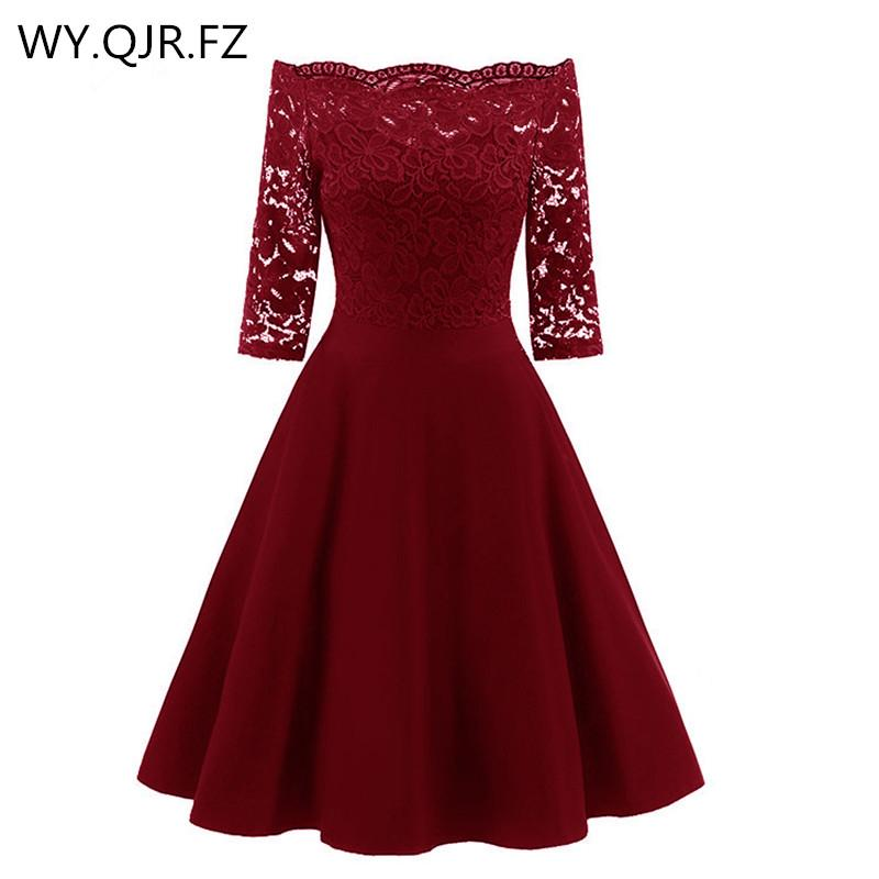 XOY1597J#Burgundy Lace Boat Neck Short Bridesmaid Dresses Three-quarter Sleeve Wedding Party Dress Gown Prom Wholesale Clothing
