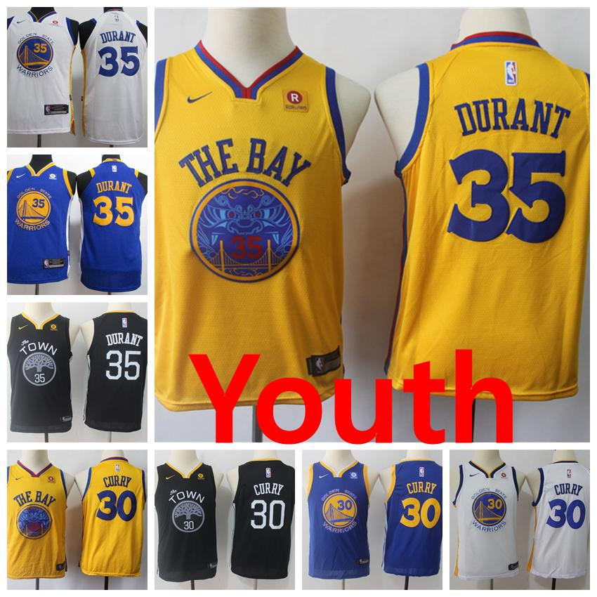 2e89bca3765a 2018 2019 New Golden State Warriors Youth Basketball Jerseys 35 Kevin  Durant 30 Stephen Curry New City Edition Kids Jersey Warriors Youth Shorts  From ...