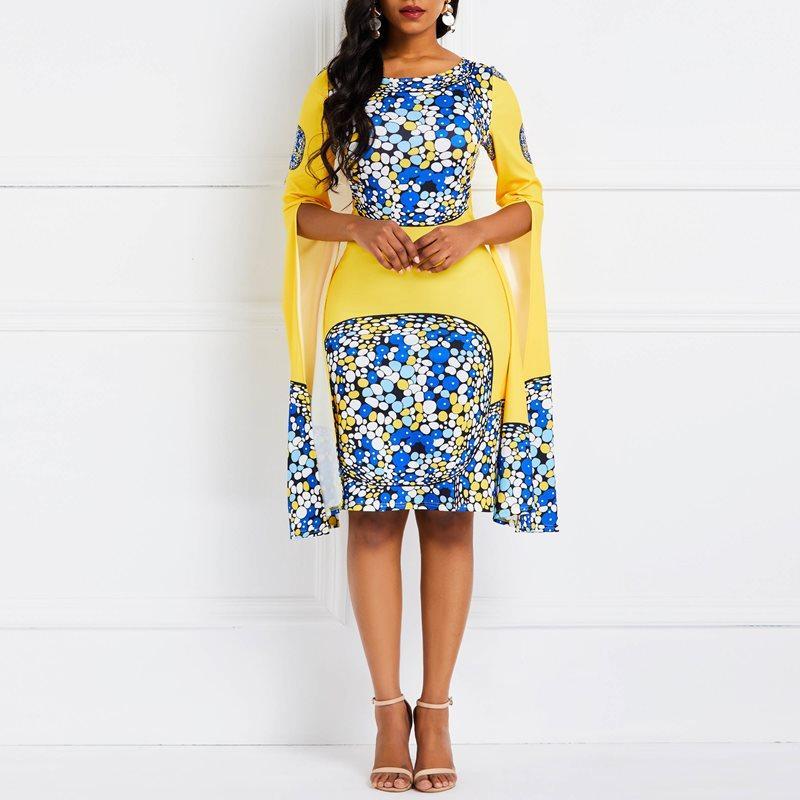 huge selection of a50de a6dfe Frauen midi kleider boho ol damen aline bodycon frühling gelb drucken  elegante plus größe weibliche mode vintage sexy retro dress