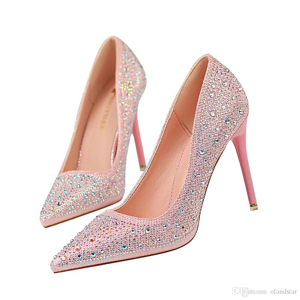 64f77a7483bb1 Rhinestone Lady Dress Shoes Women Heels Pumps High Heels Festival Party  Wedding Shoes Stiletto Formal Pumps Business Shoes GWS604