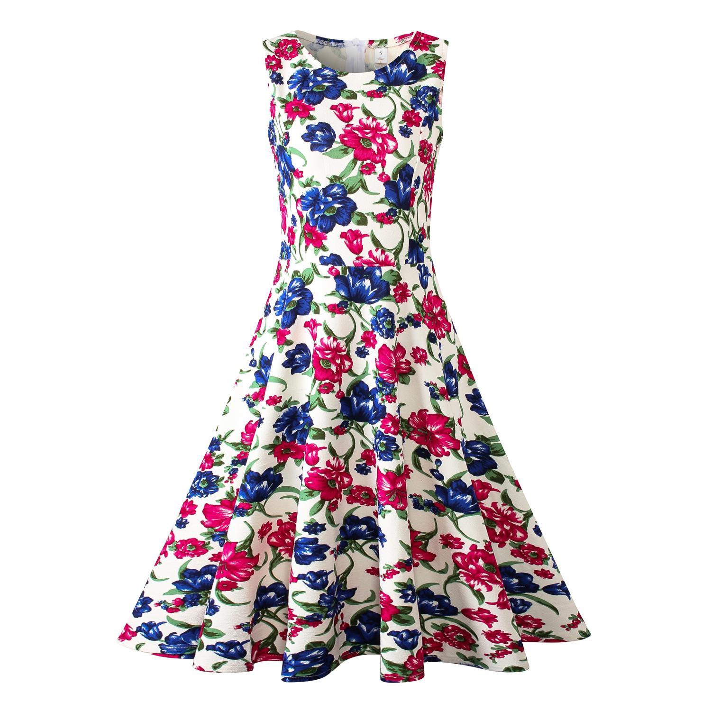 79b7338aba Summer Dress Women Retro Floral Print 50s 60s Vintage Dress Sleeveless  Elegant Party Dresses Sundress Plus Size Party Dresses Blue Dress Women  Party Dresses ...