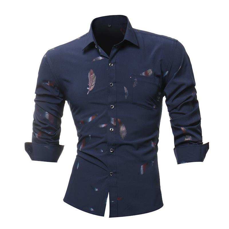 2019 Fashion Feather Print Shirt Long-sleeves Business Leisure Men's Tops Business Mens Dress Shirts Slim Men Shirt Plus Size