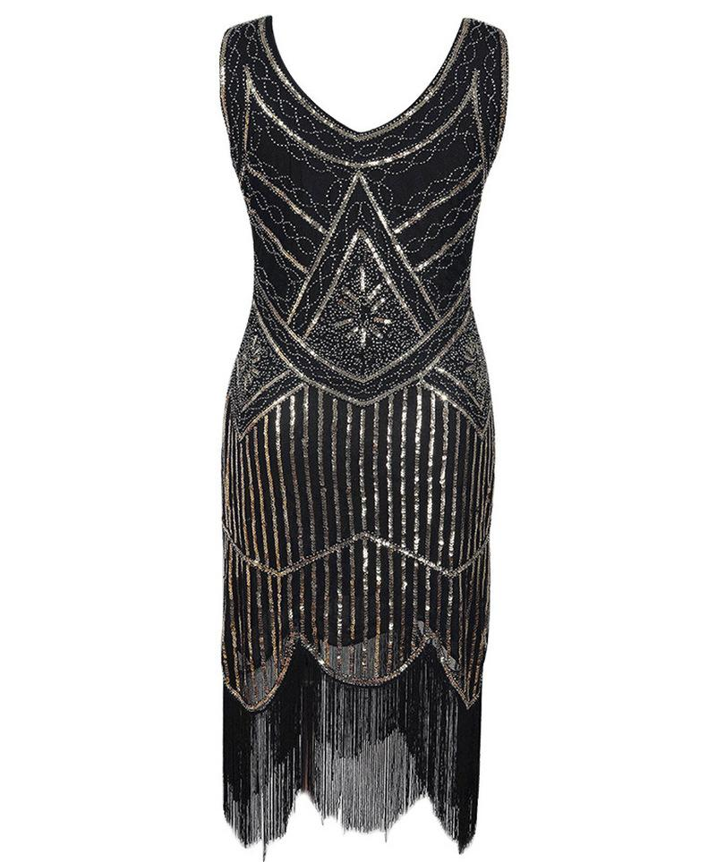 Embellished Art Deco 1920s Flapper Dress Vintage Roaring 20s Great Gatsby  Costume Dress Fringed Beaded Sequin Party Junior Cocktail Dresses Gold  Party ... 060d536b93cc