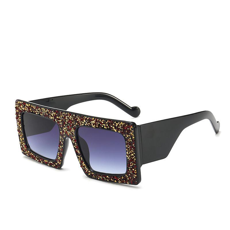 e54b5d4be Compre Oversized Quadrado Sunglasses Mulheres 2019 Moda Flat Top Red Preto  Lente Clara Homens Gafas Sombra Espelho UV400 Glitter Bling Quadro Óculos  De Sol ...