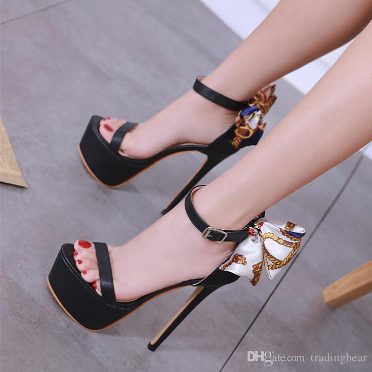 15e94380927 16cm New colored bowtie back platform high heels luxury women designer  shoes pumps size 34 to 40