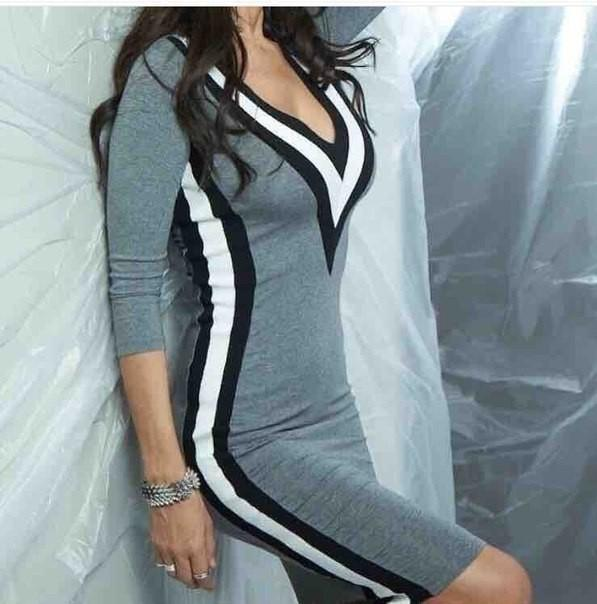 185f48610fda1 New 2019 Sexy Women Clothing V-Neck Patchwork Long Sleeve Skinny Dresses  Mini Women Dress Online with  35.52 Piece on Your04 s Store