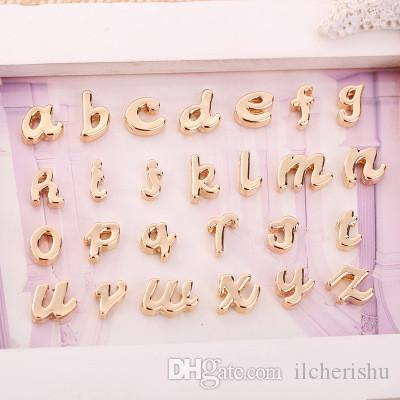 26pcs 10mm Silver rose gold tone Lowercase letter alphabet charms slide beads metal pendants diy name tag women jewelry making