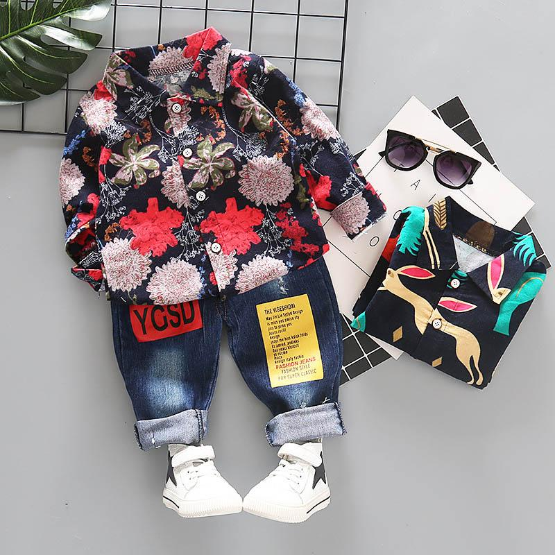 Printing floral Boys Clothing Sets Baby Boy Clothes Boy Suit long sleeve shirt+trousers Infant Outfits Toddler Clothes boys clothes A3830