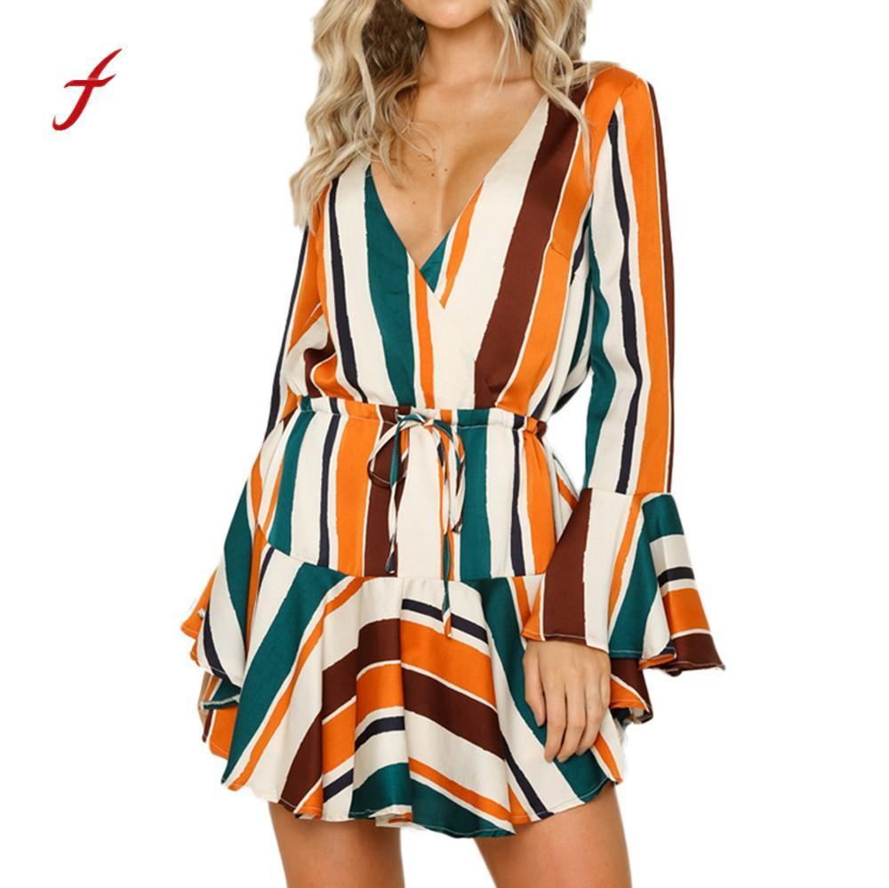 189dcdd40a7 Women Dress 2019 New Arrival Irregular Stripe Bow Tie Evening Party Fashion  Beach Holiday Dress Slim Soft Touch Dresses Summer Womens Short Dresses  Dress ...