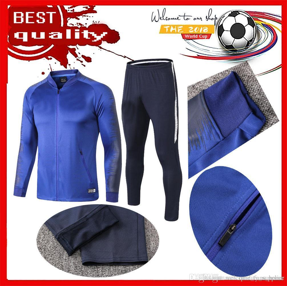 Compre 2018 2019 Camisa Chándal De Fútbol Francesa De Dos Estrellas  Camiseta De Manga Larga Azul Blanca De Entrenamiento MBAPPE POGBA 18 19  TRAJE DE ... a30a20099d3f4