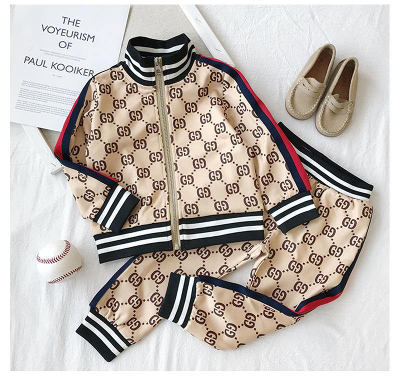 Kids Designer Clothing Sets 2019 New Luxury Print Tracksuits Fashion Letter Jackets + Joggers Casual Sports Style Sweatshirt Boys and Girls.