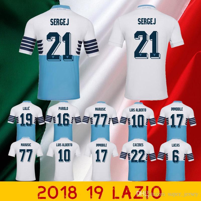 2018 Lazio Visitante A Casa Camisetas De Fútbol Chándal LUCAS KISHNA BASTA  D JORD JEVIC KEITA IMMOBILE LULIC Camisetas De Fútbol Uniforme Por  Super jersey 82391880de309