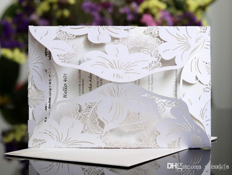 Homemade Wedding Invitations.New Laser Cut Flower Wedding Invitation Cards Personalized Hollow Wedding Party Printable Invitation Cards Ribbon With Envelope Sealed Card