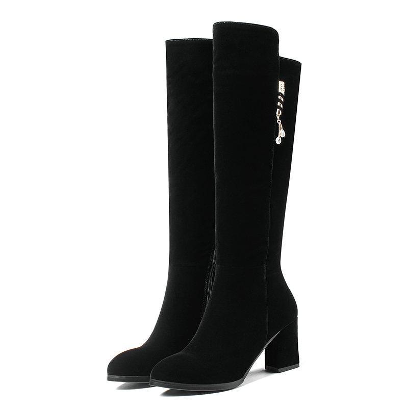 590a12c555660 ... 40 Mujer Color Negro Botas De Media Pantorrilla Damas Metal Decoración  Zapatos Mujer Cremalleras Vestido De Invierno Botas Mujer Zapatos De Tacón  Grueso ...