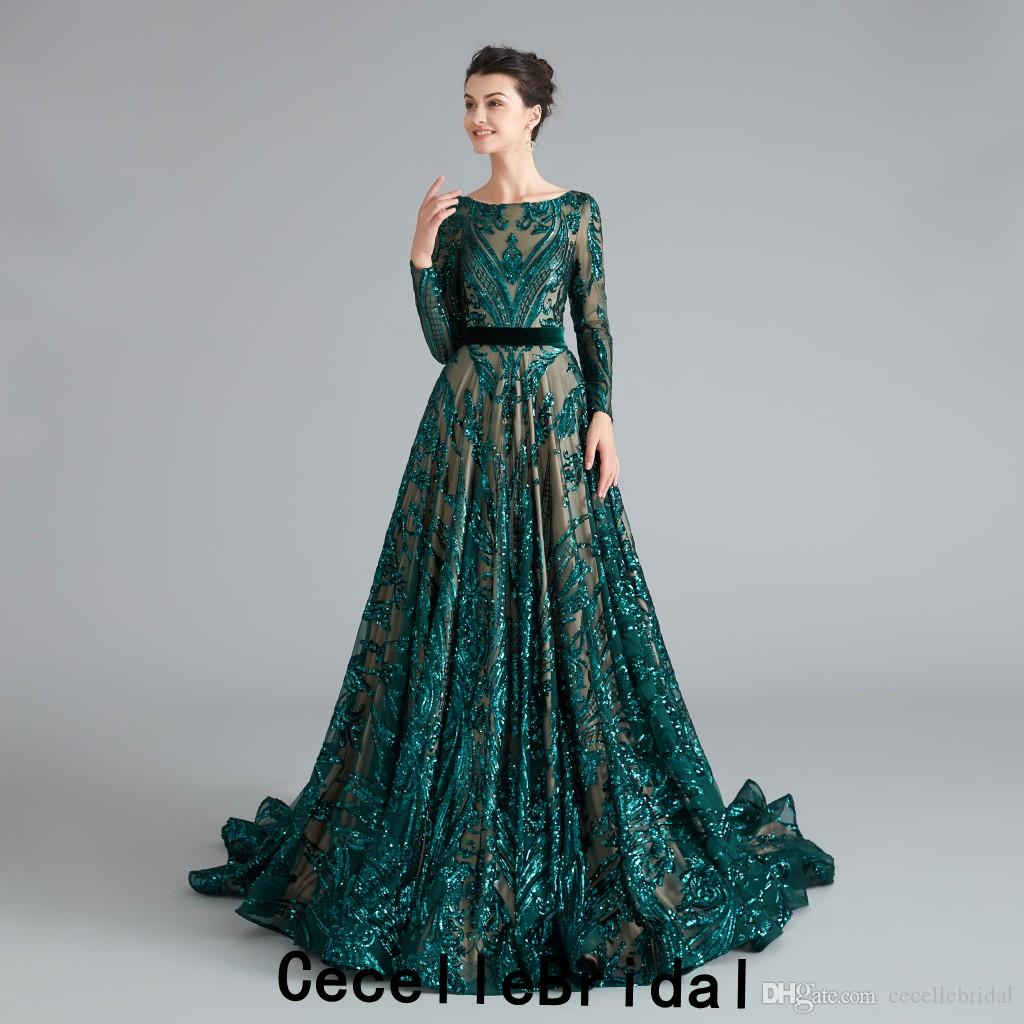 2019 New Dark Green Sequins A-line Evening Dresses With Long Sleeves Modest Arabic Women Dubai Formal Evening Gowns Sleeved Real Photos