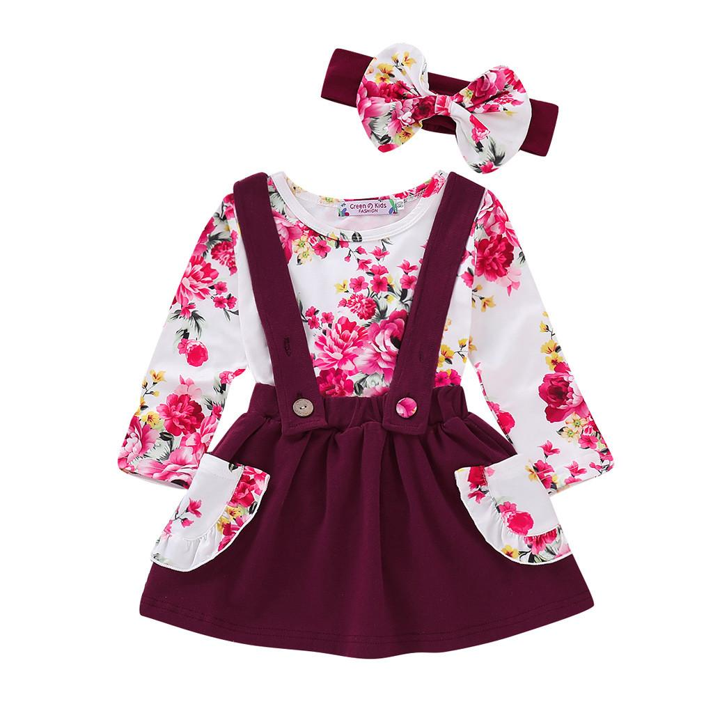 99b4e42e413f Clothes Set For Kids Girls Toddler Baby Girls Ruched Tops Floral ...