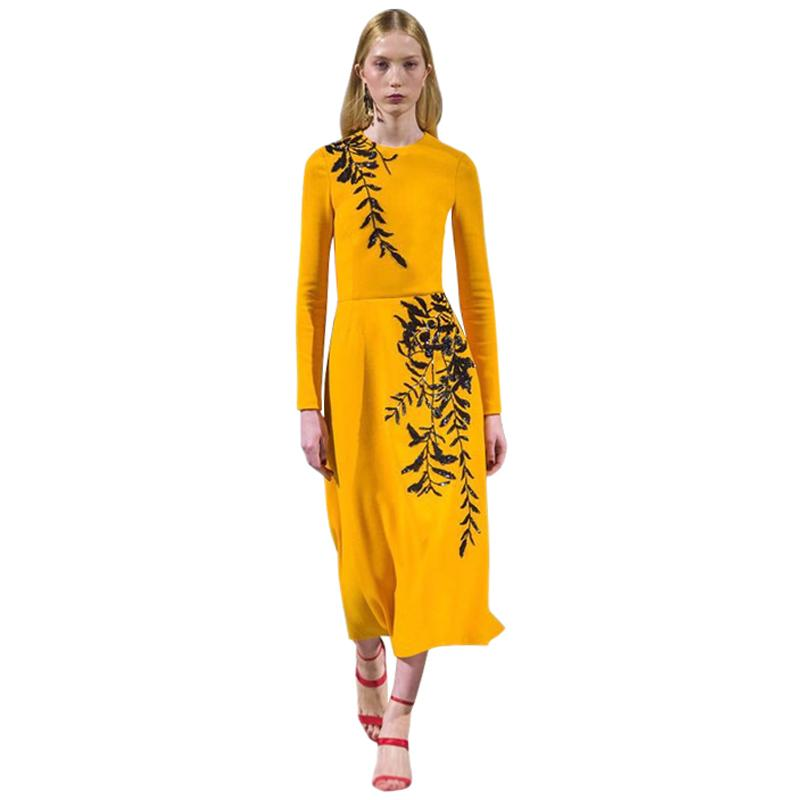 9b62b7f6049 Bling Sequin Embroidery Leaves Yellow Elegant Women Dress Round Neck Long  Sleeve A Line Mid Calf Casual Dress Women Runway Dress D19011501 White Dress  With ...