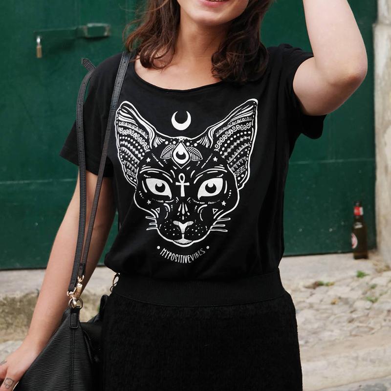 9fdccc022f Sphynx Cat T Shirt Pastel Goth Moon Child Tee Shirt Aesthetic Women  T-shirts Soft Grunge Space Cat Tops Kawaii Summer Top Y190123