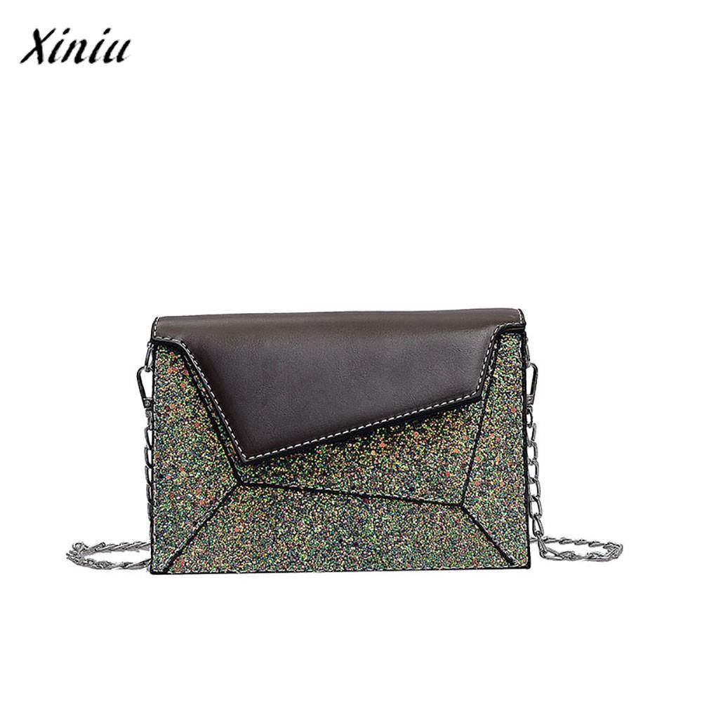 0cb742af9750a Satın Al Xiniu Lüks Çanta Kadın Çanta Tasarımcısı Vahşi Zincir Pullu Omuz Çantası  Moda Messenger Çanta Yeni Çok Renkler Küçük Kare, $33.94 | DHgate.Com'da