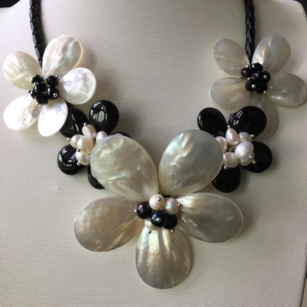 7253e87d0da7 Compre 2019 Nueva Moda Negro Onyx Mar Blanco Shell Flor Gargantilla Collar  Vestido Accesorios Suéter Collar A  109.86 Del Ericgordon
