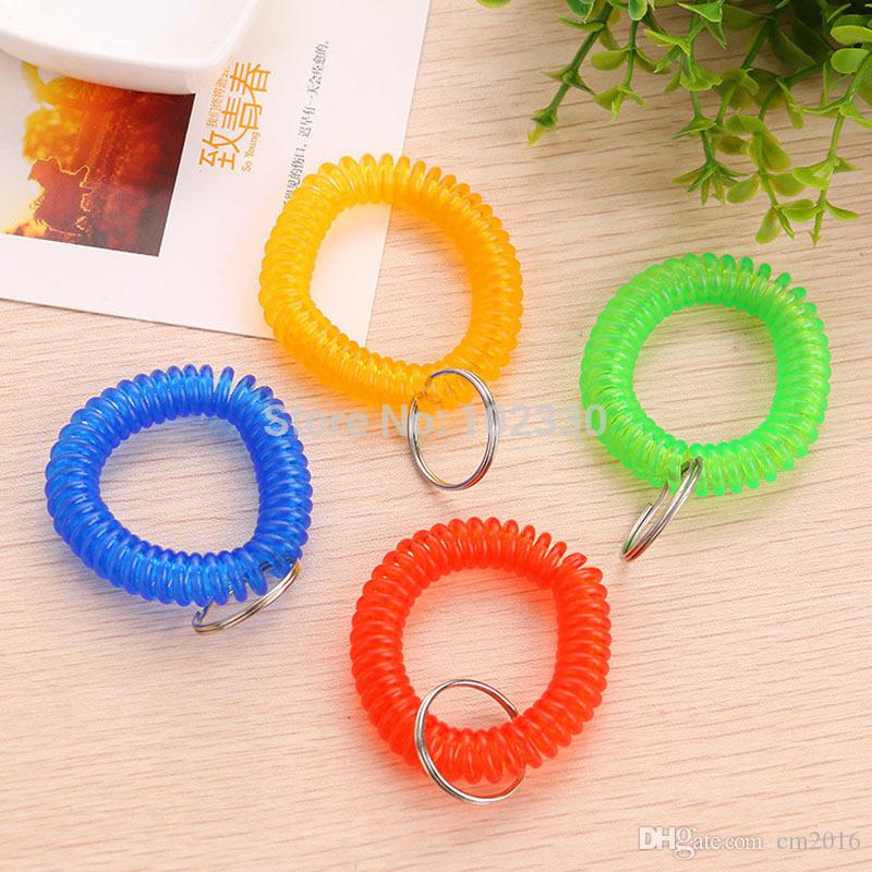 Colorful Spring Spiral Wrist Coil Flexible Spiral Coil Wristband Wrist Band Key Ring Chain Key Tag for Gym Pool