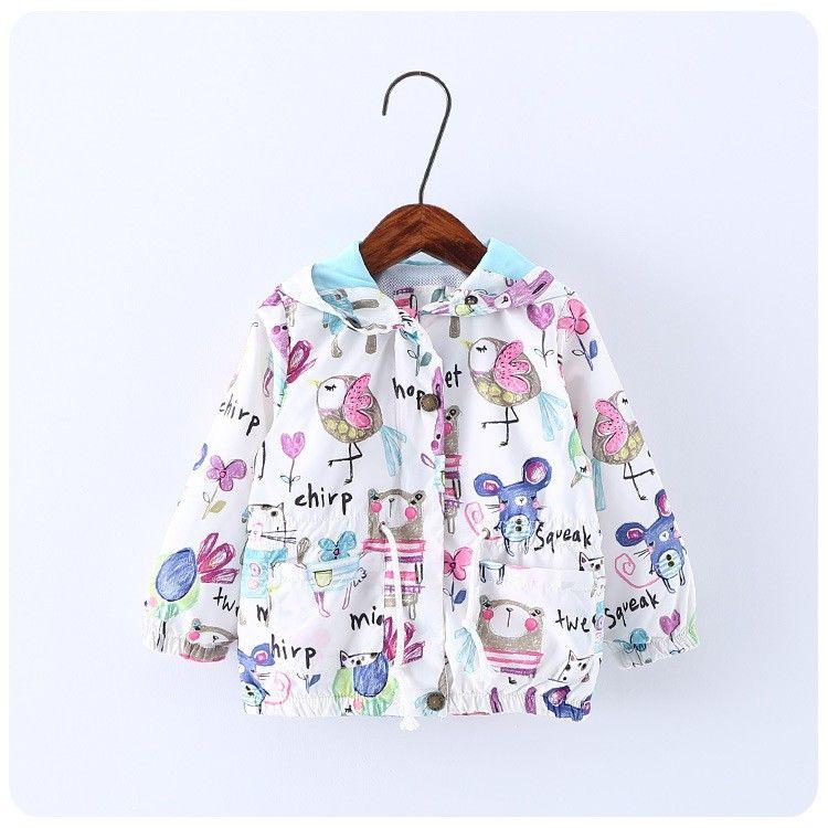 d6a981e64 Spring Autumn Cartoon Graffiti Baby Girl Jackets Coats Hooded ...
