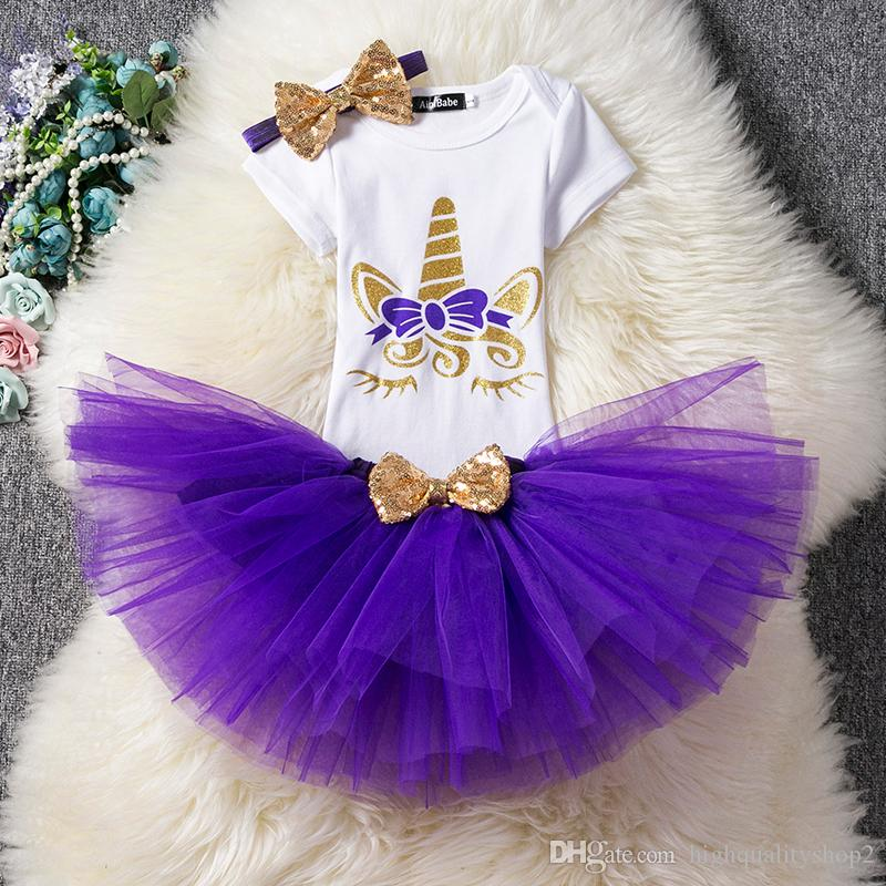 6aa81c7afa6f0 Unicorn Party Newborn Baby Girls 1 Year Birthday Dress Infant Party Dress  Christening Gown Tutu Kids Unicorn Clothes For 12 24M