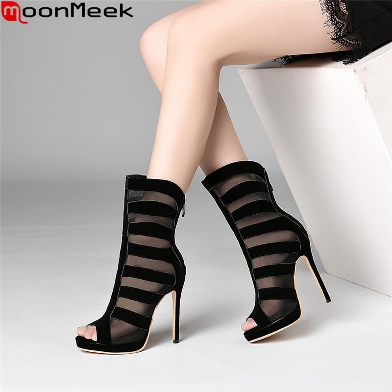 93968578 Compre MoonMeek 2019 Verano Nuevos Zapatos Mujer Peep Toe Zip Súper Alto  Tacones Finos Zapatos Mujeres Sandalias De Baile De Boda Elegante Tobillo  Botas A ...
