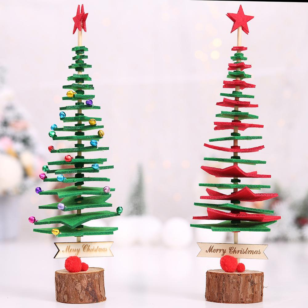 Mini Christmas Tree Ornaments.33cm Diy Non Woven Mini Christmas Tree Ornaments Desktop Decor Christmas Gift For Kids New Year