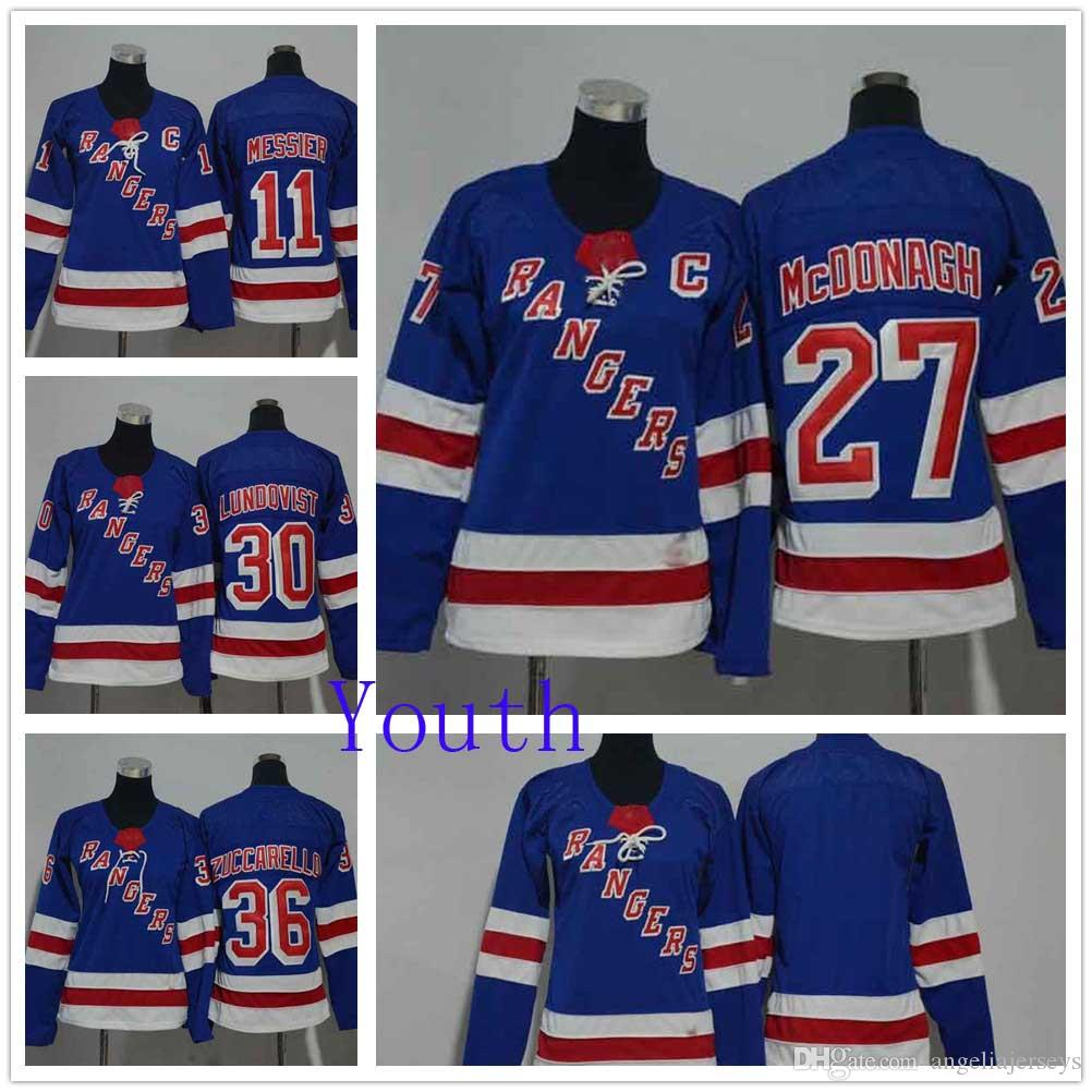 newest fc810 46868 Youth New York Rangers 11 Mark Messier 27 Ryan McDonagh Stitched Hockey  Jersey 30 Henrik Lundqvist 36 Mats Zuccarello Royal Blue Home NHL