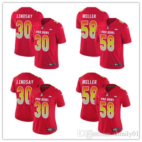 874c45b43 58 Von Miller Limited Jersey Denver Men S Broncos Red AFC 2019 Pro Bowl  Football Jersey White Prom Tux White Tie Formal From Shmily01