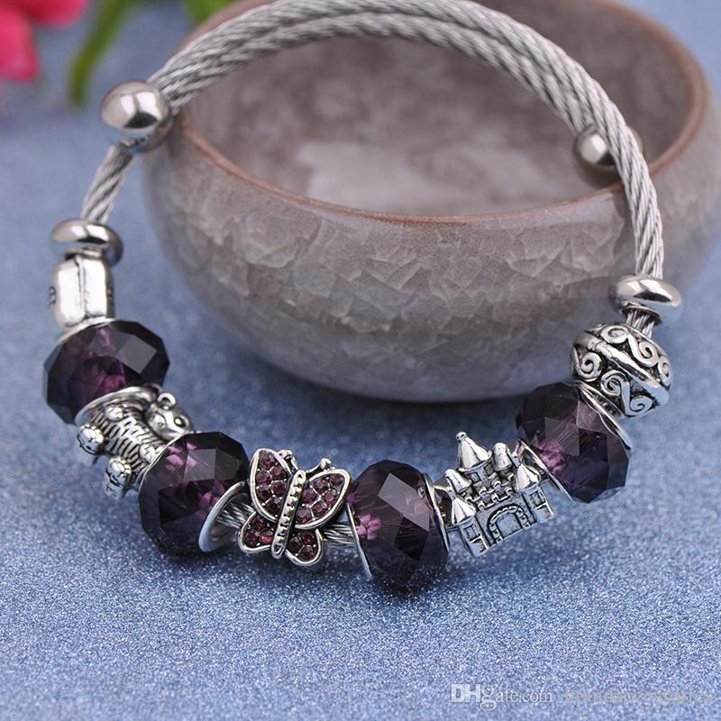 5pcs Stainless Steel Wire Bracelets Fit Pandora Women Faceted Murano Glass Beads Silver Purse Bear Castle Bangle Butterfly Purple P148