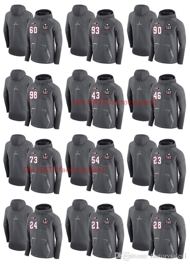 on sale 4a272 f1f2e Top Quality Men Sweatshirt Patriots Pullover Hoodie Super Bowl LI Bound 1/4  Zip Jacket Player Name & Team Logo Hot Sale 100% Cotton