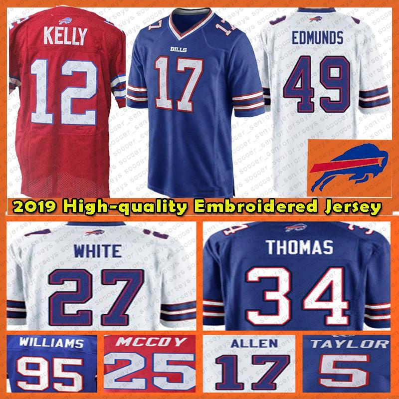 best loved 6bb6c d25f0 Buffalo 17 Allen Jersey Bills 12 Kelly 49 Edmunds 34 Thomas 25 McCoy top  2019 new Mens Adult Football Jerseys