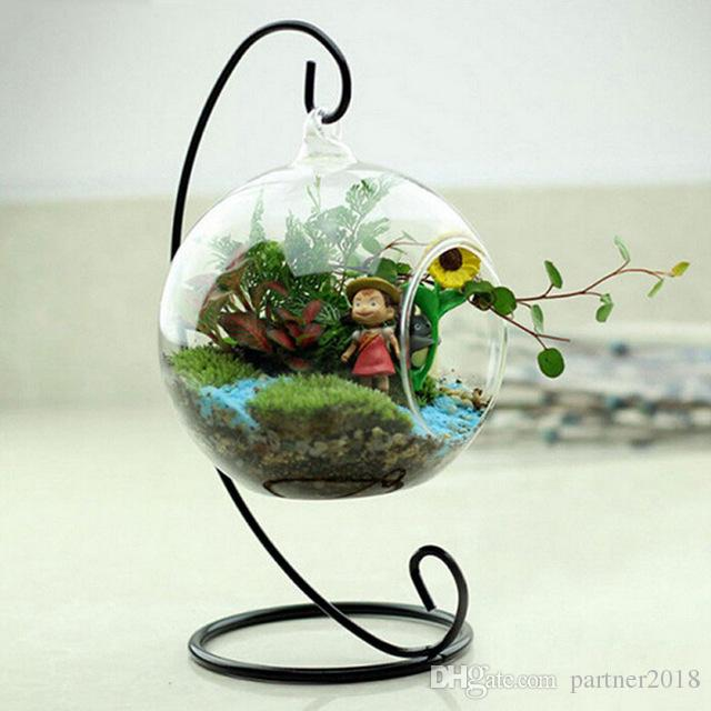 6/8 / 10cm Creativo Clear Glass Terrarium Sfera a forma di globo Hanging Vaso Flower Air Plants Contenitore Paesaggio DIY Wedding Home Decor