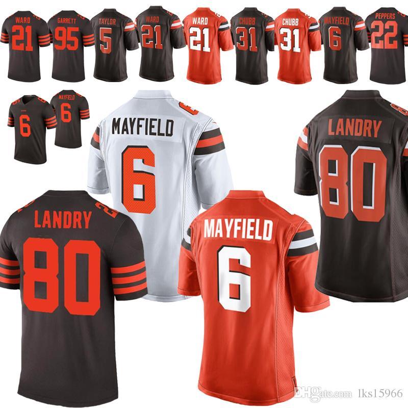 low priced db196 c5167 Cleveland Brown Jerseys 6 Baker Mayfield Jerseys 80 Jarvis Landry 31 Nick  Chubb 73 Joe Thomas 23 Joe Haden 21 Denzel Ward
