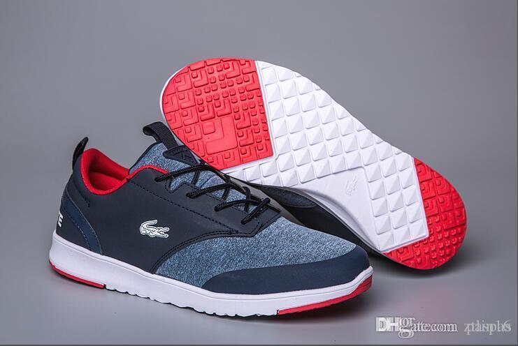 1bbd42f425d Compre LACOSTE Sapatos Clássicos Básicos Sapatos Casuais Boa Qualidade  Designer De Homens De Skate Tênis De Couro Dos Homens Sapatos De Desporto  Dos Homens ...
