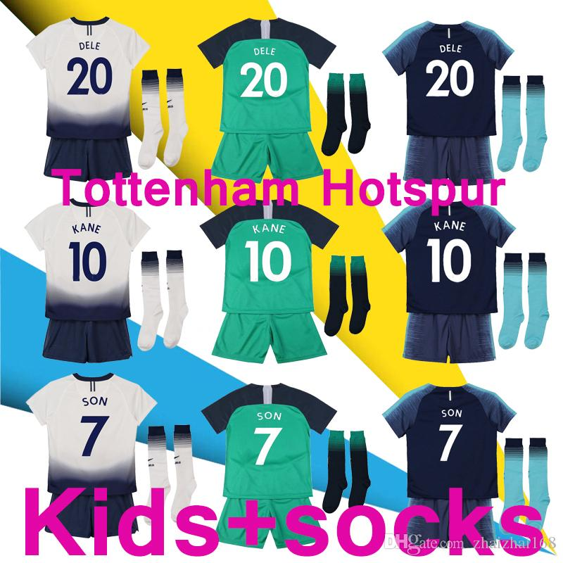 size 40 ec734 c65c2 New 18/19 Spurs Kids kit socks Jerseys Home away third white green Soccer  Jersey 2018 2019 KANE DELE ERIKSEN SON Away blue Football shirt