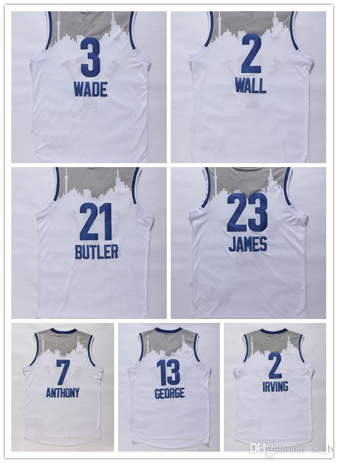 pretty nice 77fc0 a315b 2016 East All Star Men Basketball Jerseys LeBron James Dwyane Wade Carmelo  Anthony Jimmy Butler John Wall Kyrie Irving