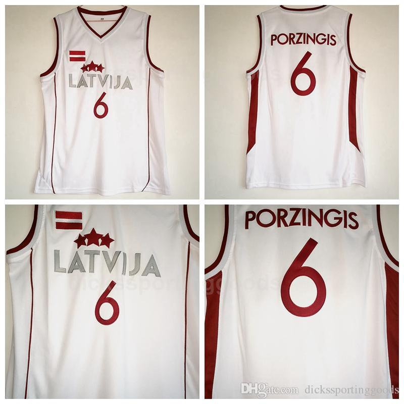 ba4c190cfe3 2019 NCAA College Latvija Basketball 6 Kristaps Porzingis Jersey Men White  Team Color For Sport Fans University Breathable From Top_sport_mall, ...