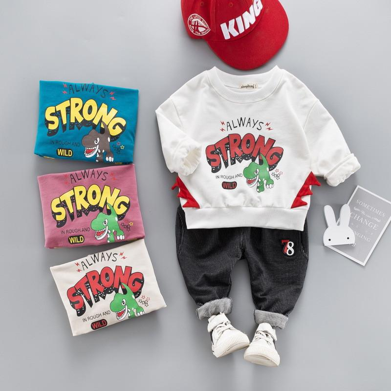 0-4 years High quality boy girl clothing set 2019 new spring fashion cartoon kid suit children baby clothing T-shirt+pant