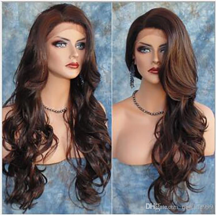 Brasilianisches Menschenhaar Lace Front Perücken Big Wavy 30inches Medium Brown Lace mit Combs Density Natural Color Soft Hair