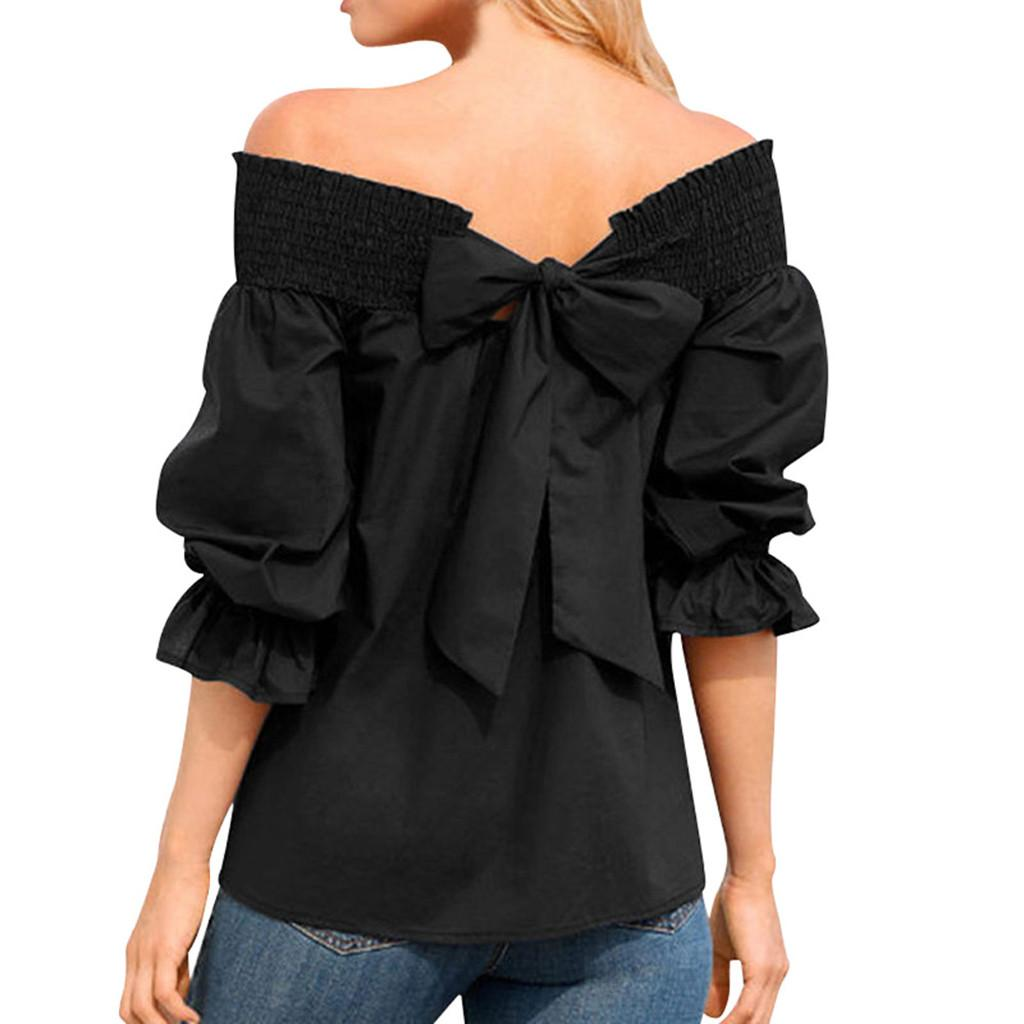 Plus Size Summer Womens Tops And Blouses Clothes 2019 Streetwear Off Shoulder Bow Blouse Women Tunic Lantern Sleeve Ladies Tops