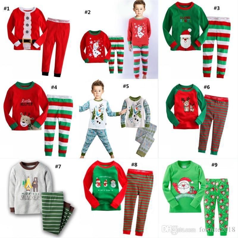a141c21e28e79 Acheter Noël Enfants Pyjamas Père Noël Vêtements De Nuit Garçons Et Filles  Bébé Bande Dessinée Moose Manches Longues Homewear Costume De  6.74 Du ...